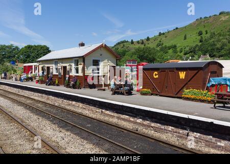 The Glyndyfrdwy railway station on the Llangollen Steam Railway in North Wales - Stock Photo