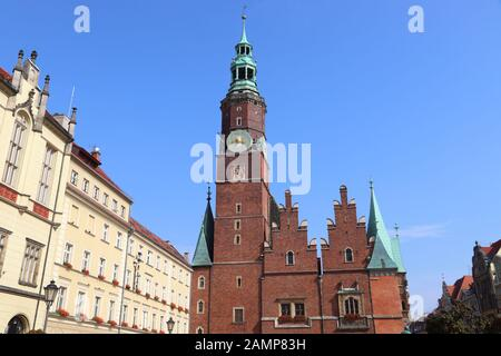 Wroclaw city landmarks -  Old Town Hall at Rynek square. Wroclaw, Poland. - Stock Photo