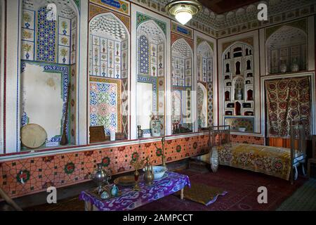 Museum, living space in the residential building of the resistance fighter Fayzulla Ubaydullayevich Xo'jayev, Bukhara, Bukhara province, Uzbekistan - Stock Photo