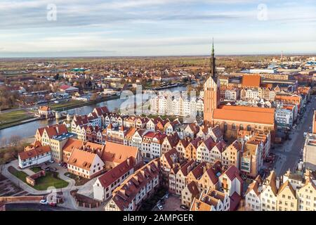 12.12.2019 Elblag aerial view at old city edit now - Stock Photo