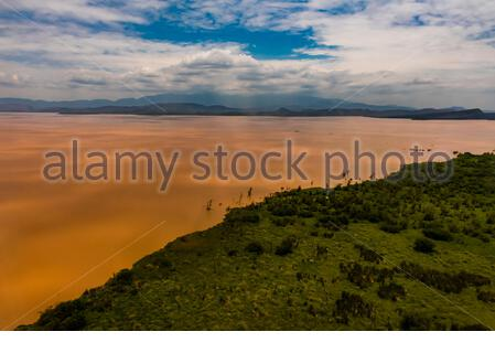 Aerial view of Lake Abaya, near Arba Minch, Ethiopia. One of the two largest Rift Valley lakes. - Stock Photo
