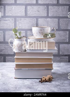Coffee and books. Scandinavian home interior - Stock Photo
