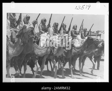Coronation' of King Abdullah in Amman. Cavalry of the Arab Legion in march past parade Abstract/medium: G. Eric and Edith Matson Photograph Collection  Physical description: 1 transparency:; 1946;  Catalog: https://www..gov/pictures/collection/matpc/item/mpc2005010238/PP Original url: https://hdl..gov/.pnp/matpc.14994; Matson Collection; - Stock Photo
