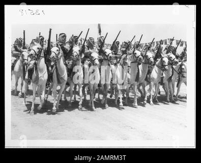 Coronation' of King Abdullah in Amman. The elite Camel Corps of the Arab Legion, passing saluting base Abstract/medium: G. Eric and Edith Matson Photograph Collection  Physical description: 1 transparency:; 1946;  Catalog: https://www..gov/pictures/collection/matpc/item/mpc2005010237/PP Original url: https://hdl..gov/.pnp/matpc.14993; Matson Collection; - Stock Photo