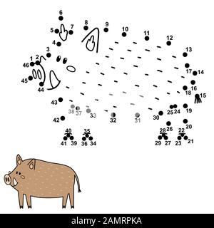 Dot to dot game for kids. Connect the numbers and draw a cute boar - Stock Photo
