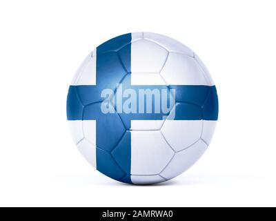 Football in the colors of the Finnish flag isolated on white in a conceptual championship image supporting Finland - Stock Photo