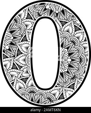 number 0 with abstract flowers ornaments in black and white. design inspired from mandala art style for coloring. Isolated on white background - Stock Photo