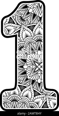 number 1 with abstract flowers ornaments in black and white. design inspired from mandala art style for coloring. Isolated on white background - Stock Photo