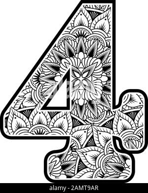number 4 with abstract flowers ornaments in black and white. design inspired from mandala art style for coloring. Isolated on white background - Stock Photo