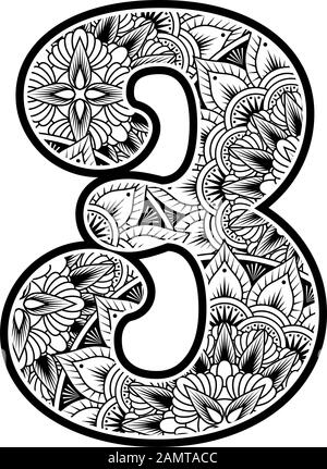 number 3 with abstract flowers ornaments in black and white. design inspired from mandala art style for coloring. Isolated on white background - Stock Photo