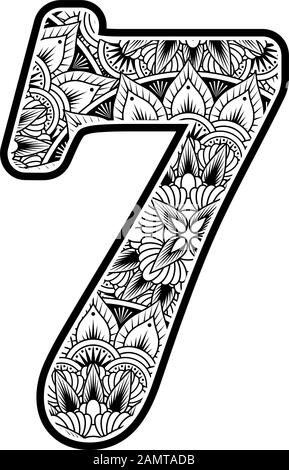 number 7 with abstract flowers ornaments in black and white. design inspired from mandala art style for coloring. Isolated on white background - Stock Photo