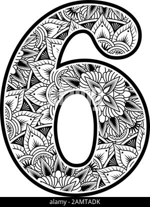 number 6 with abstract flowers ornaments in black and white. design inspired from mandala art style for coloring. Isolated on white background - Stock Photo