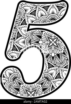 number 5 with abstract flowers ornaments in black and white. design inspired from mandala art style for coloring. Isolated on white background - Stock Photo