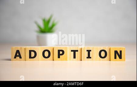 Word Adoption written on wooden blocks ob blue background. Famale concept. - Stock Photo