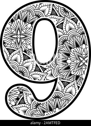 number 9 with abstract flowers ornaments in black and white. design inspired from mandala art style for coloring. Isolated on white background - Stock Photo