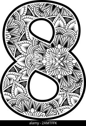 number 8 with abstract flowers ornaments in black and white. design inspired from mandala art style for coloring. Isolated on white background - Stock Photo