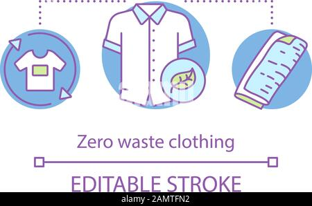 Zero waste clothing and products concept icon. Waste management, eco friendly lifestyle idea thin line illustration. Organic, natural fabric Vector is - Stock Photo