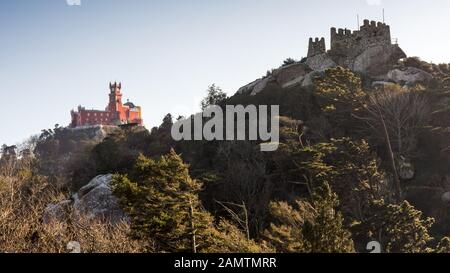 Lisbon, Portugal - March 13, 2016: The ruins of the Moorish Castle on the mountaintop in Pena Park, Sintra. - Stock Photo