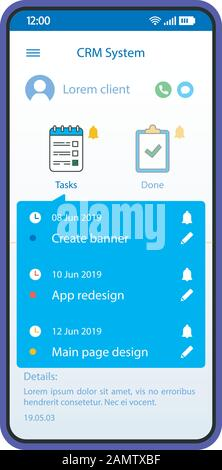Crm App Smartphone Interface Vector Template Mobile Software Page Blue Design Layout Customer Relationship Management Application Screen Flat Ui C Stock Vector Image Art Alamy