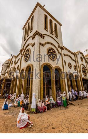 Ethiopian women praying at St. Gebriel Orthodox Church  (Ethiopian Orthodox Church) during Meskel celebration, Arba Minch, Ethiopia. - Stock Photo