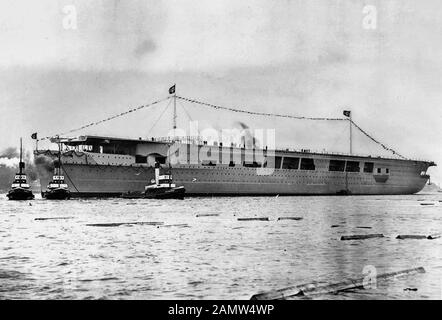The German aircraft carrier Graf Zeppelin after launching in December 1938. - Stock Photo