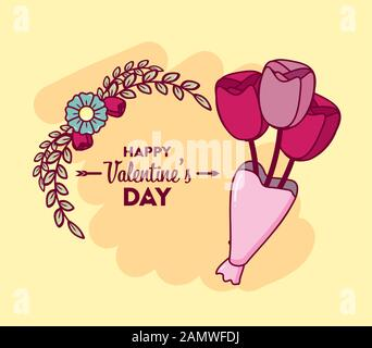 happy valentines day card with roses bouquet - Stock Photo