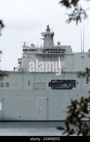 Royal Australian Navy landing helicopter dock ship HMAS Canberra (L02) is a Canberra-class helicopter carrier amphibious assault Ship - Stock Photo