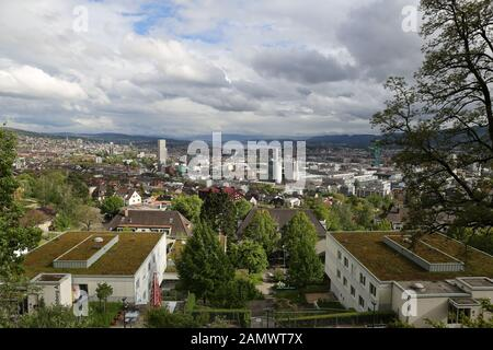 View from the Hönggerberg over Zurich, Switzerland - Stock Photo