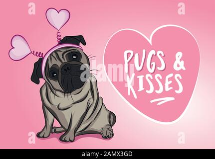 Pugs and kisses. - funny hand drawn vector saying with pug dog puppy character. Adorable beige Pug pet on a pink background. Valentine's Day card. - Stock Photo