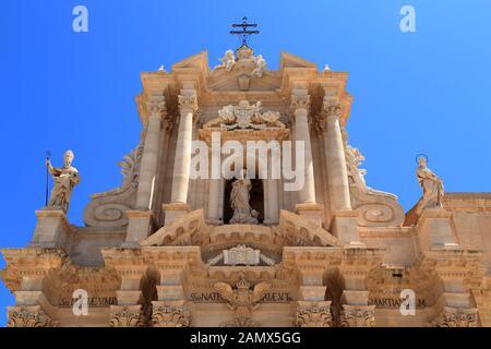 Cathedral of Syracuse, Ortygia. Duomo di Siracusa, Ortigia. - Stock Photo