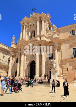 Cathedral of Syracuse, Ortygia. Duomo di Siracusa, Ortigia. Piazza del Duomo. - Stock Photo
