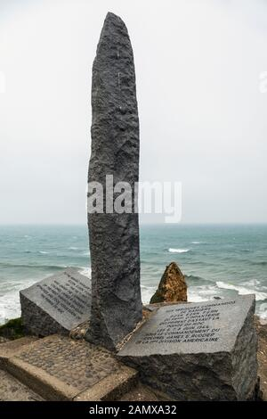 Memorial to the American Ranger Commandos who first took Pointe du Hoc in June 1944, Pointe du Hoc, Calvados, Normandy, France - Stock Photo