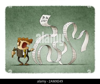 Man in a suit, businessman or manager, hold a long list or scroll of tasks.