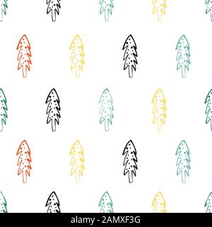 Seamless pattern with doodle Christmas trees. Winter background - Stock Photo