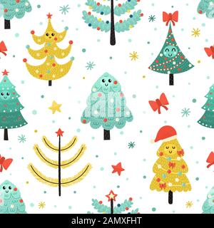 Happy Christmas trees seamless pattern. Funny background - Stock Photo