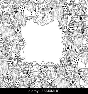 Black and white Christmas frame in coloring page style - Stock Photo