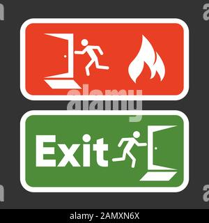 Exit fire signs set. Emergency Exit. Man figure running to doorway. Plate fire exit. Vector - Stock Photo