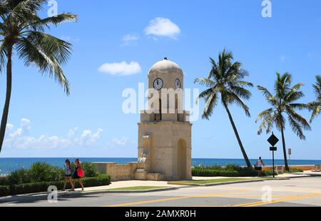 the clock tower at palm beach on the florida coast - Stock Photo