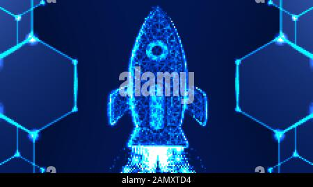 Rocket launch. Business startup concept. abstract low poly wireframe mesh design, vector illustration - Stock Photo