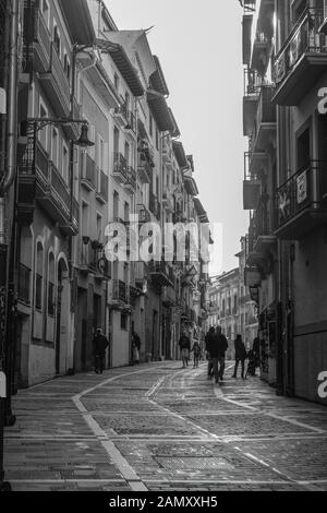 Street Sceane Pamplona Old Town.Navarra Spain. Pamplona is the capital of Navarre province in northern Spain. It's best known for the Running of the B - Stock Photo