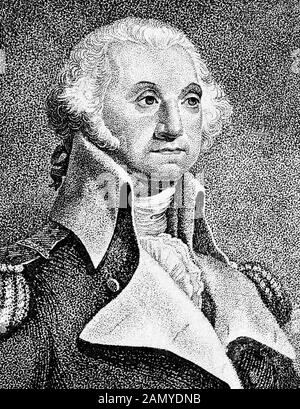 Vintage portrait of General George Washington (1732 - 1799) – Commander of the Continental Army in the American Revolutionary War / War of Independence (1775 – 1783) and the first US President (1789 - 1797). Detail from a print circa 1812 from an engraving by Thomas Gimbrede. - Stock Photo