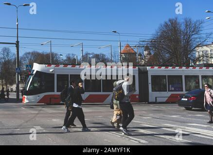 20 April 2019 Tallinn, Estonia. Low-floor tram on one of the streets of the city. - Stock Photo