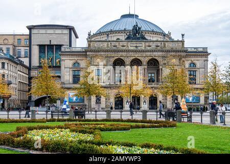 Royal Danish Theatre current building built 1872–74 and designed by Wilhelm Dahlerup on Kongens Nytorv 1, Copenhagen, Denmark - Stock Photo