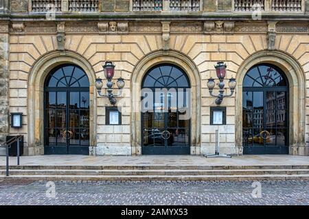 Royal Danish Theatre entrance. Current building built 1872–74 and designed by Wilhelm Dahlerup on Kongens Nytorv 1, Copenhagen, Denmark - Stock Photo