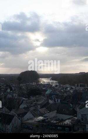 The little historical town of Chinon on the river Vienne in winter, Indre-et-Loire, Centre-Val de Loire, France - Stock Photo