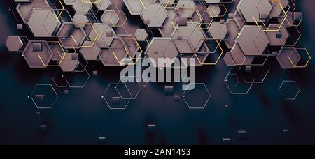 Abstract background of technology and science. Mesh or net with lines and geometric shapes detail.3d illustration Stock Photo