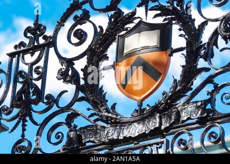 The Princeton University Shield on a wrought iron gate on campus - Stock Photo