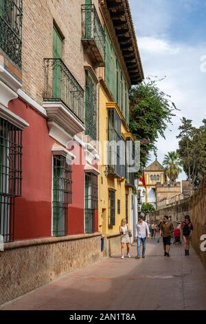 Colourful buildings line the narrow Callejon del Agua, which runs along the wall of the Real Alcázar.