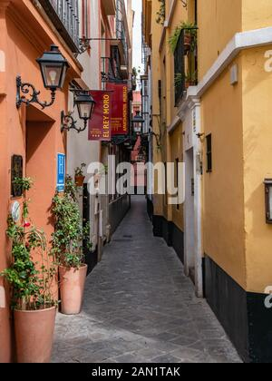 The narrow Calle Reinoso in Seville's old Jewish Quarter, a maze of narrow, streets, lanes and alleyways in the Barrio de Santa Cruz.