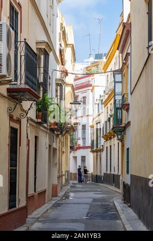 Colourful buildings line a narrow, winding street in Seville.